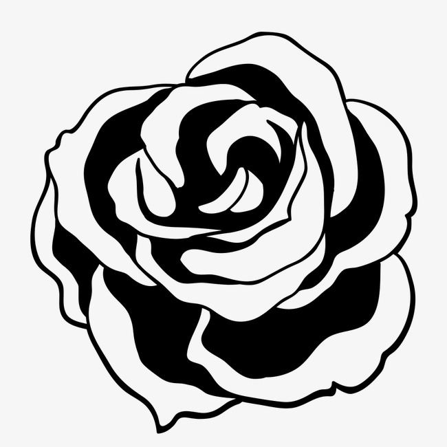 Tea Rose Clipart Black And White: Rose, Rose Clipart, Black, Line PNG Image And Clipart For