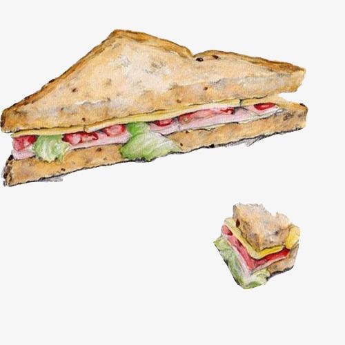 Sandwich Tangan Lukisan Bahan Gambar Segitiga Roti Sandwich Sayur