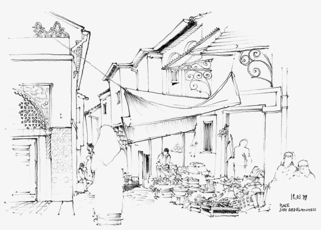 Scene Sketch Line Drawing Line Clipart Scene Painting Hand