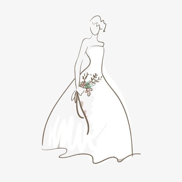 Mudah Sketsa Gaun Pengantin Bouquet Gaun Pengantin Menikah Imej Png