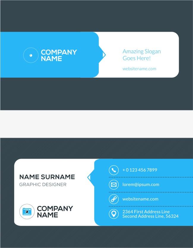 Carte De Visite Bleu Commerce Vecteur Gratuit PNG Et