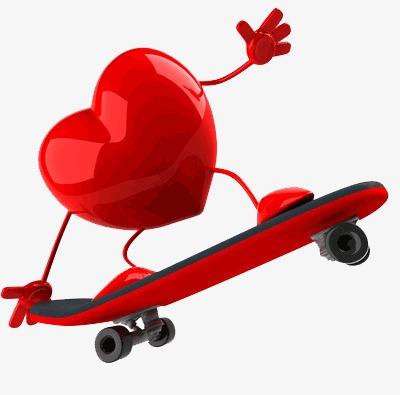 Skateboarding Corazon Movimiento Salud Rojo Imagen Png Para Descarga