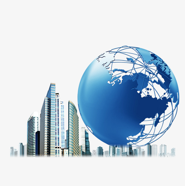 Spherical World Map.Skyscrapers And Spherical Map Modern High Rise Building Png And