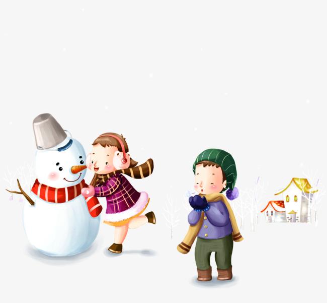 La Nieve Jugando Los Ninos Y Muneco De Nieve Ilustracion La Nieve