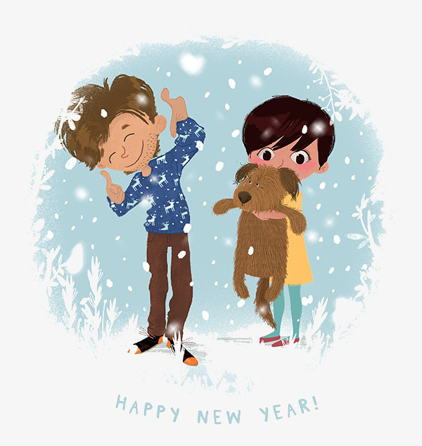 snowflake children and puppies new year card cartoon greeting card brothers greeting card