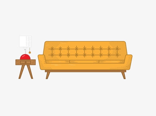 Sofa Vector Illustration Furniture Yellow Png Image And Clipart