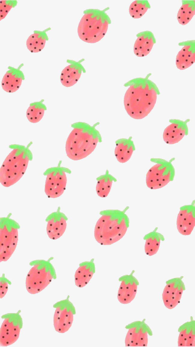 Strawberry Wallpaper Lovely Cartoon PNG And PSD