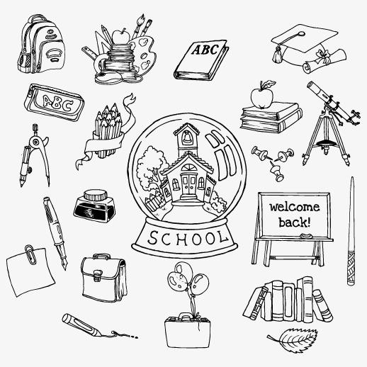 Students School Supplies Vector Graphics School Vector School