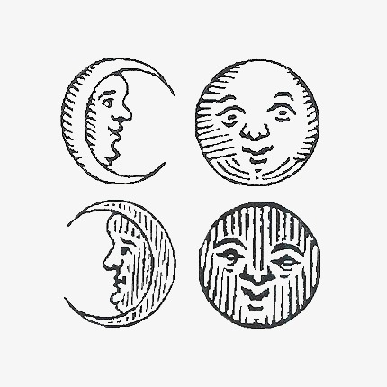 Sun Moon Moon Clipart Sketch Black And White Transparent