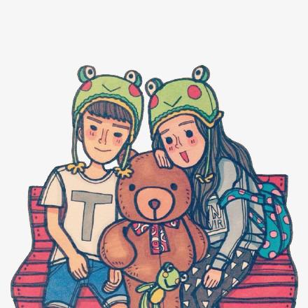無料ダウンロードのためのかわいい熊とカップルの素材 カップル 小熊