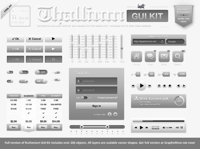 GUI Toolkit TL GUI Kit Arquivo PNG e PSD para download gratuito