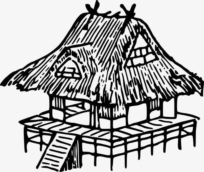Thatched Building Building Clipart Line Drawing Building