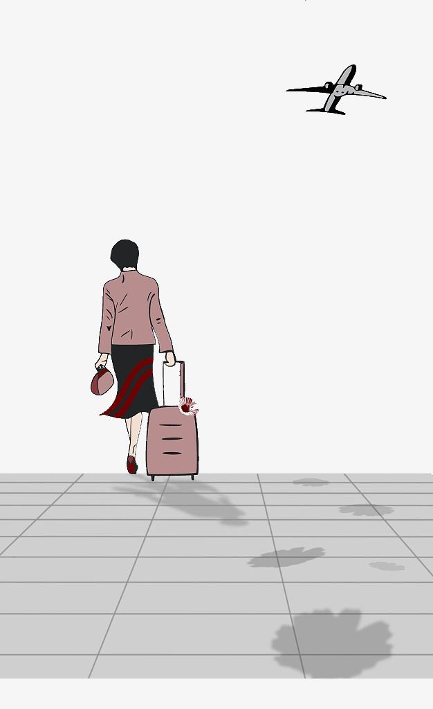 無料ダウンロードのためのひとりぼっちの後ろ姿イラスト スーツケースを