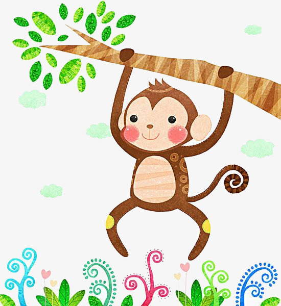 Le Singe Sur Une Branche Singe Des Branches Dessin Image Png Pour Le