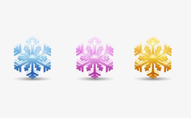 Tres De Color De Los Copos De Nieve Purple Copos De Nieve