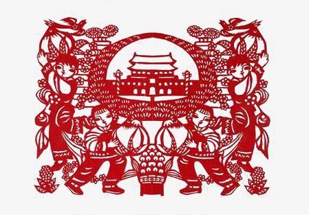 La Plaza De Tiananmen Rojo Corte De Papel 56 Grupos étnicos