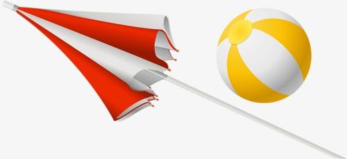 Umbrella And Ball Umbrella Clipart Cartoon Sandy Beach Png Image