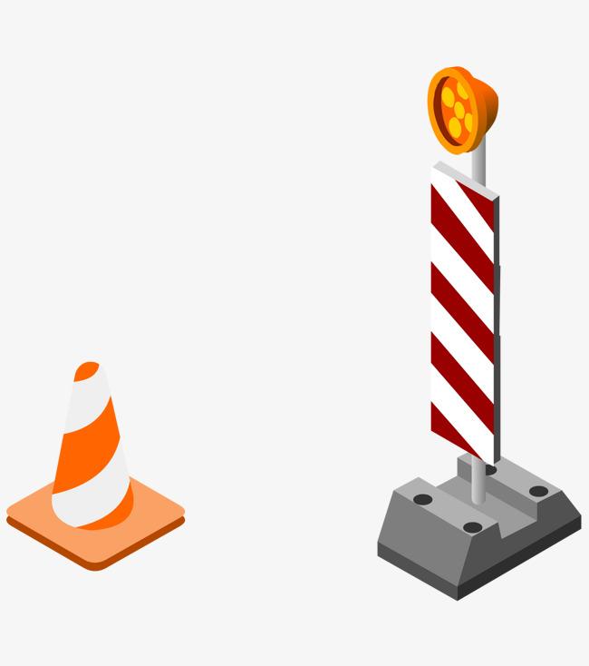 cartoon de vetor de transporte de cones de luz de advertência vector
