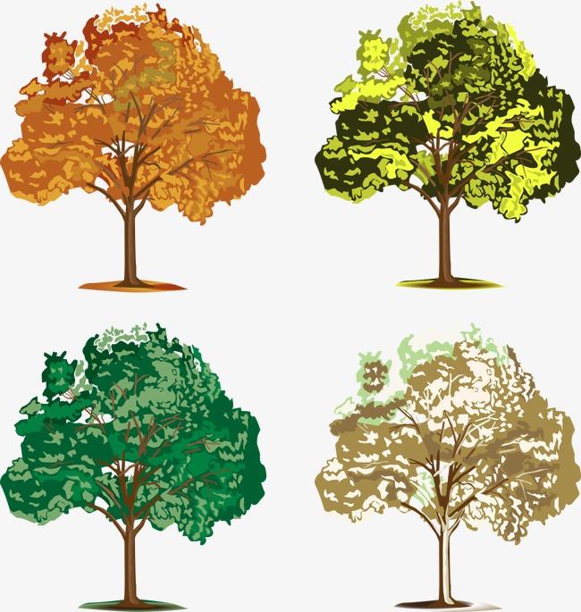 Arboles De Colores De Vectores Color De Arboles Dibujos De Arboles
