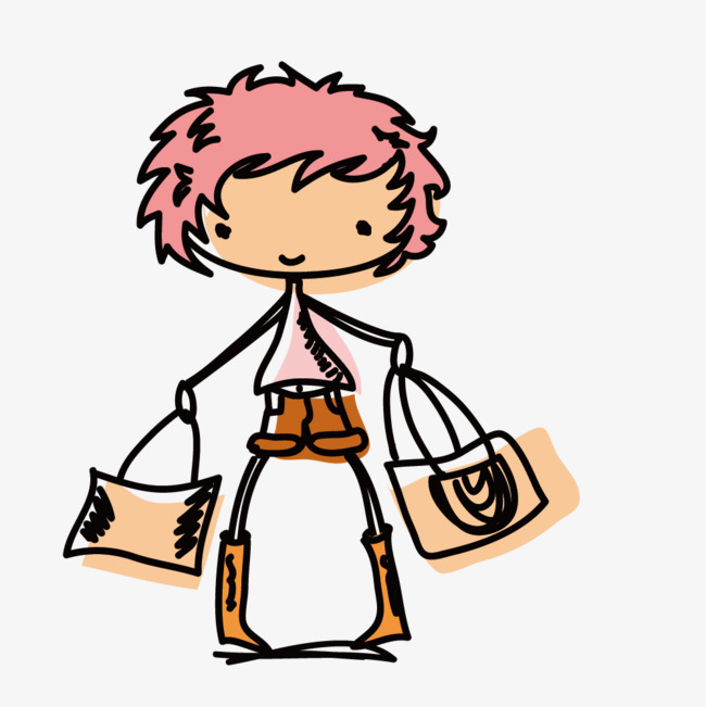 Vector Drawing Fashion Girl Standing Pink Short Hair Fashion Draw