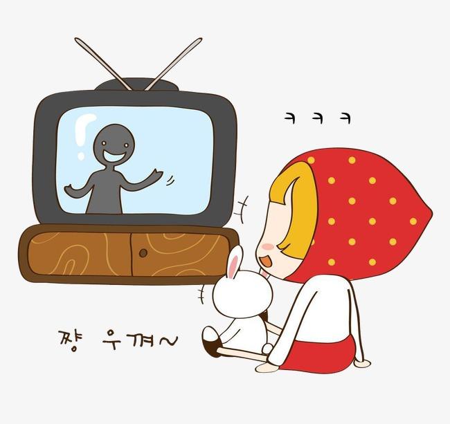 Regarder La Télévision Dessin Peint à La Main Fille Image ...
