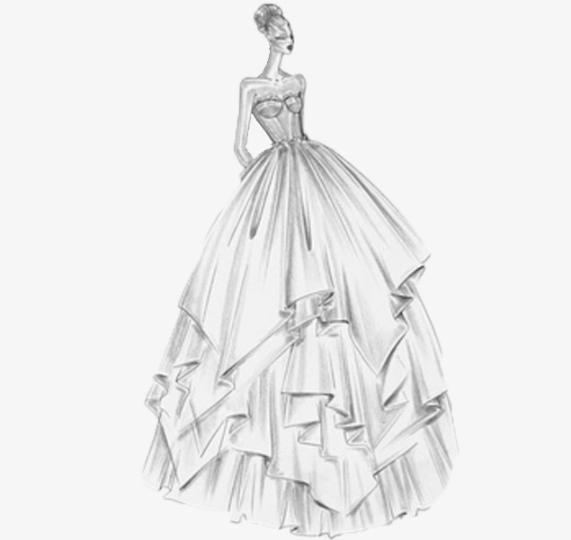 Perkahwinan Pakaian Gaun Pengantin Lakaran Hitam Dan Putih Imej Png