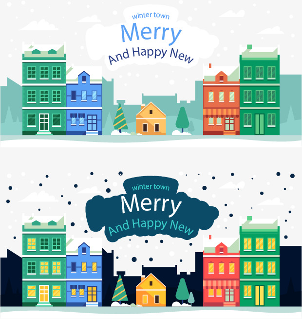 winter town merry christmas happy new year two banners winter banner township png