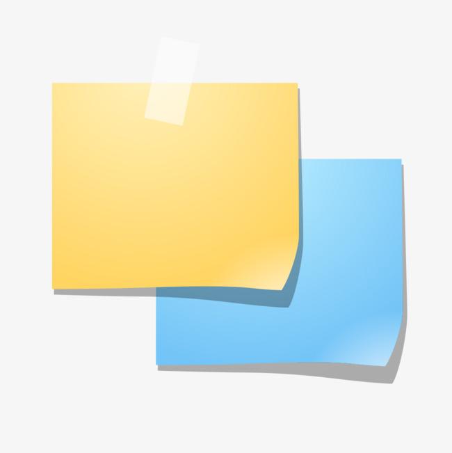 無料ダウンロードのための黄靑の付箋紙 便箋紙 黄色便箋便箋 靑便箋