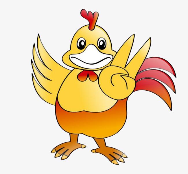 Kuning Gambar Kartun Ayam Jantan Cock Kuning Sayap Imej Png Dan