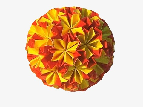 Yellow Origami Flower Ball Flower Clipart Yellow Curd Png Image