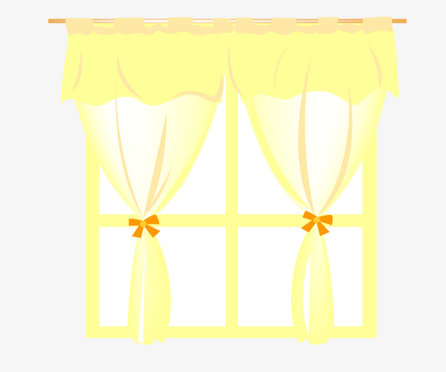 Kitchen Window Clip Art: Yellow Window Curtains, Window Vector, Cartoon, Yellow PNG