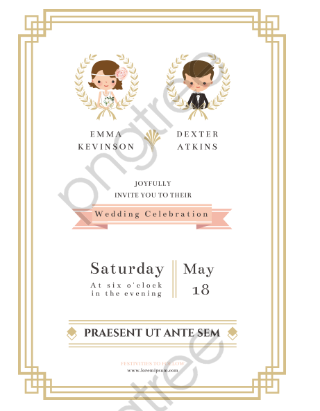 Transparent The Bride And Groom Wedding Invitation Vector Png Format