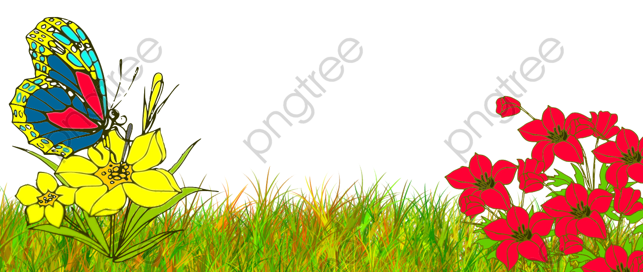 Transparent butterfly bushes PNG Format Image With Size 1280*541