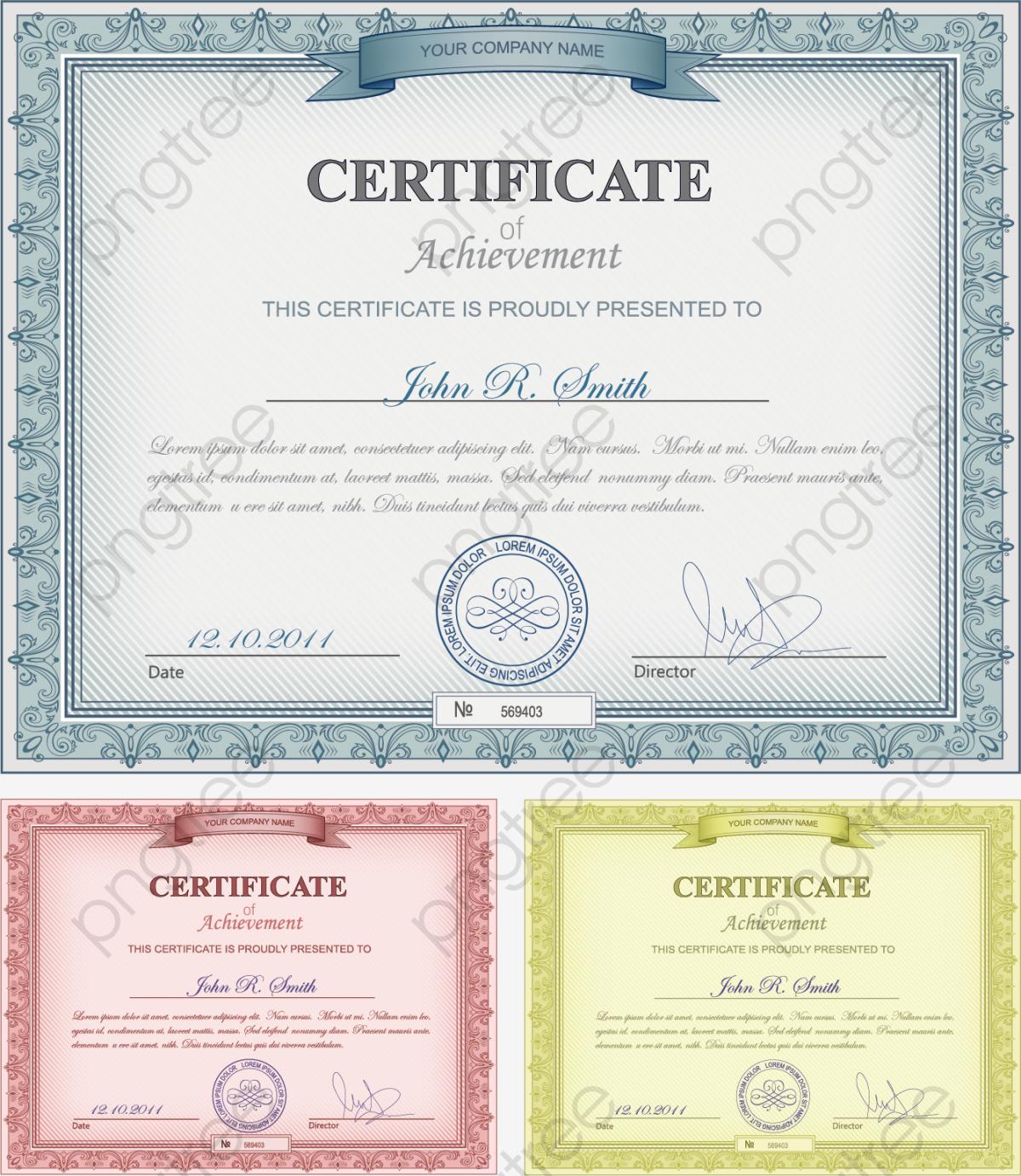 Transparent European Certificate Template PNG Format Image
