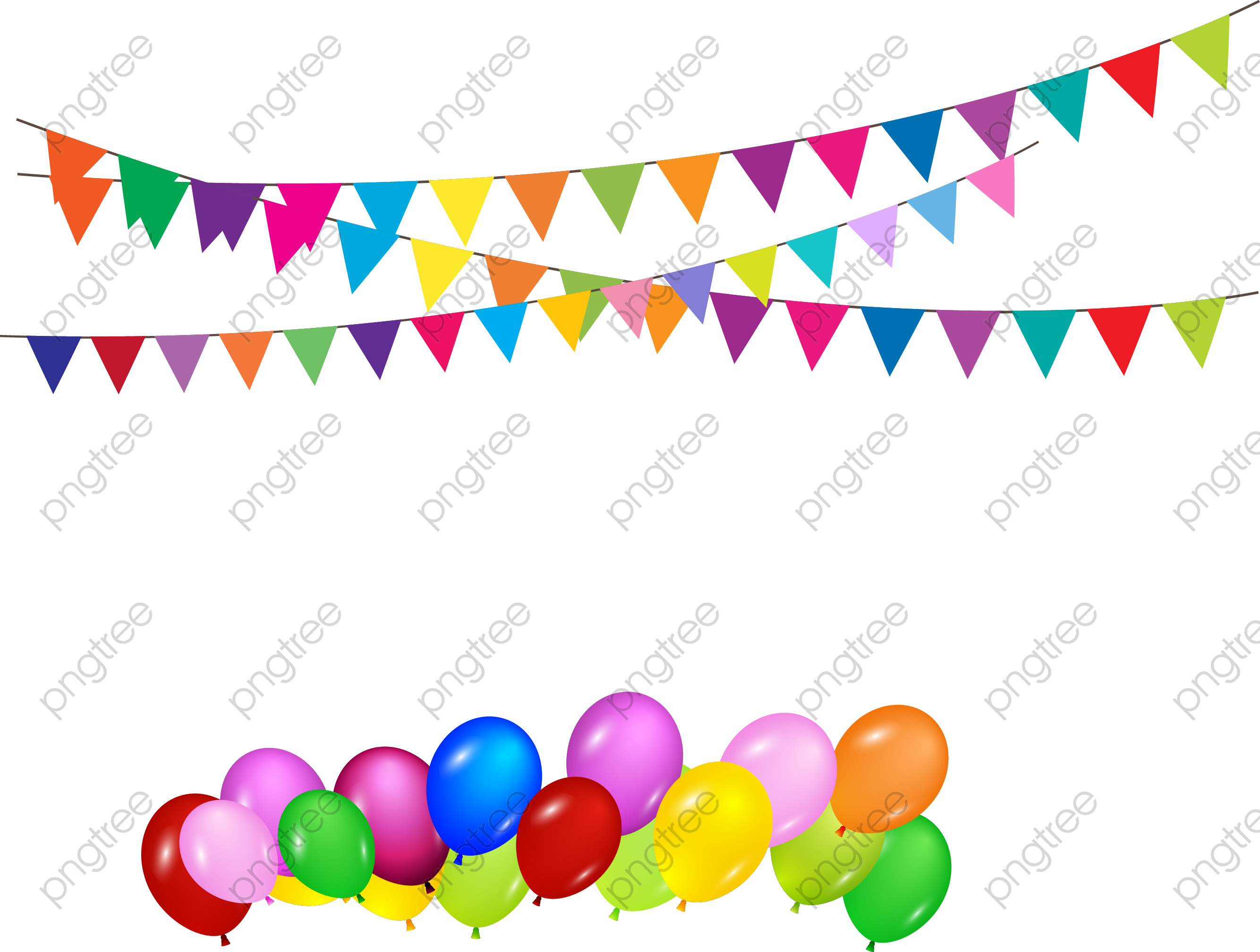 Transparent vector bunting and balloons birthday party ...