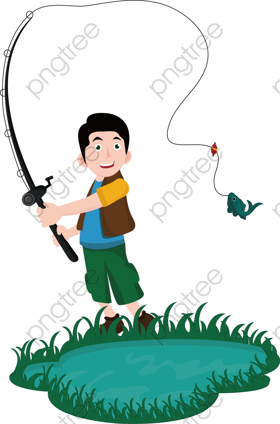 Transparent vector painted man fishing rod PNG Format ...