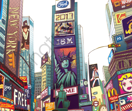 Transparent cartoon new york times square street view PNG ...