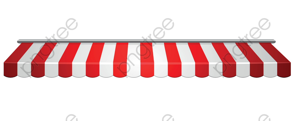 Red and white striped awning PNG Clipart