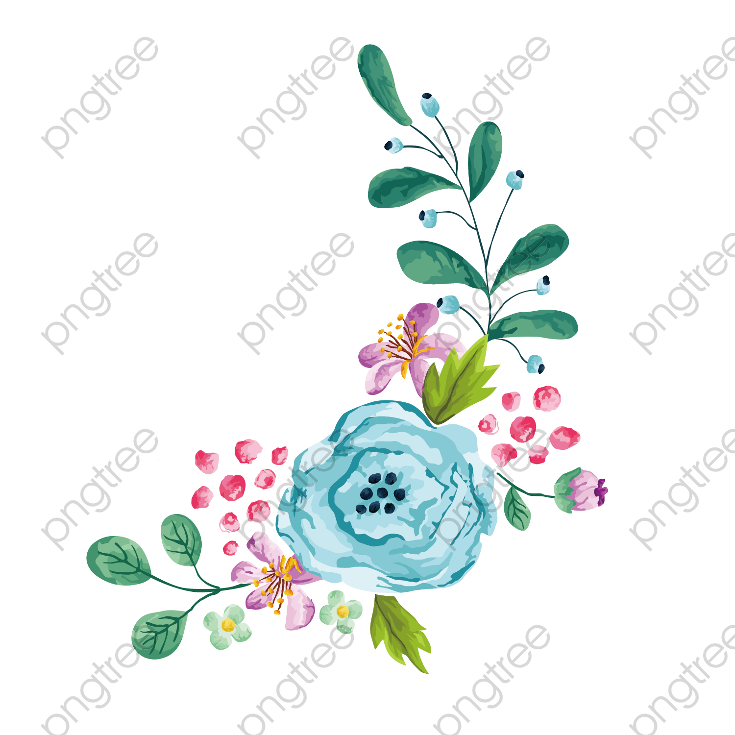 Transparent Vector Cartoon Watercolor Hand Painted Floral