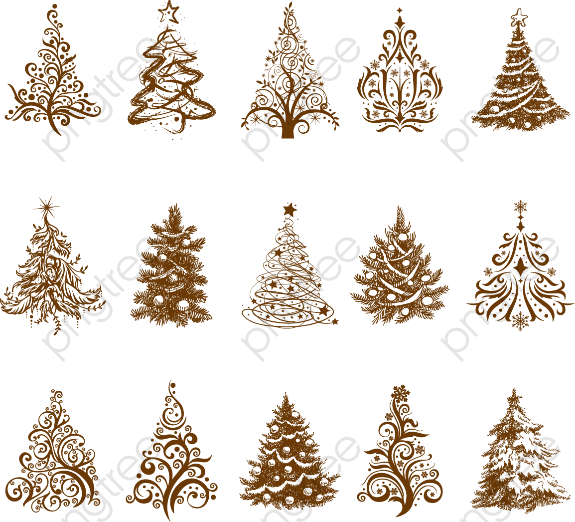 Christmas Tree Vector.All Kinds Of Vintage Christmas Tree Vector Material Tree
