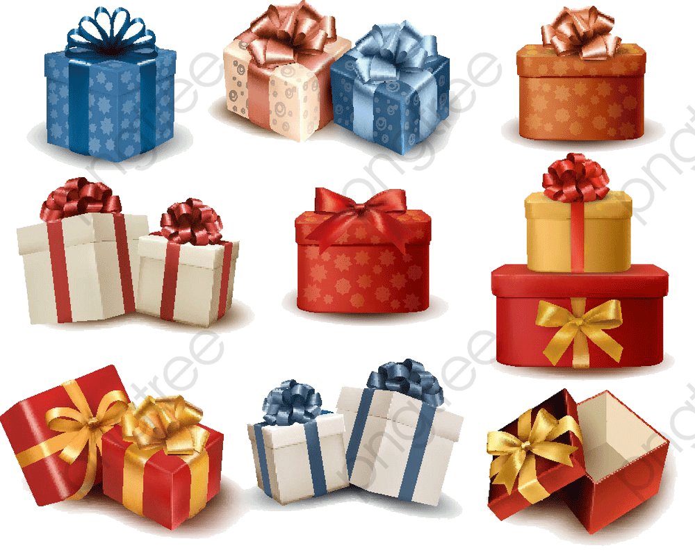 Transparent Christmas Gift Box Packaging Png Format Image With Size