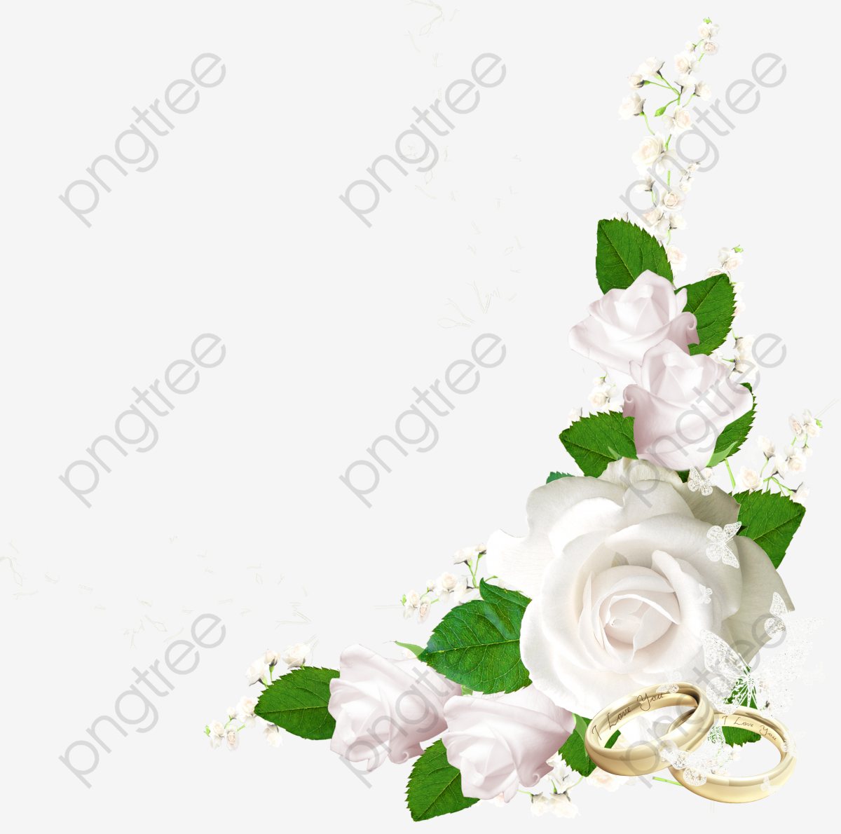 Flowers White Rose Ring PNG Transparent Clipart Image And