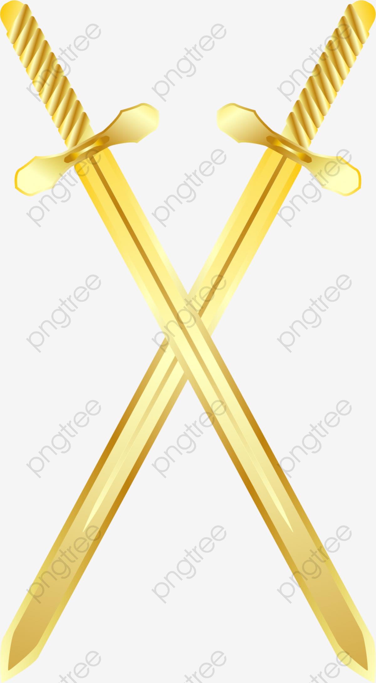 Vector Santa Espada De Ouro Pintado A Mão, Vector ...