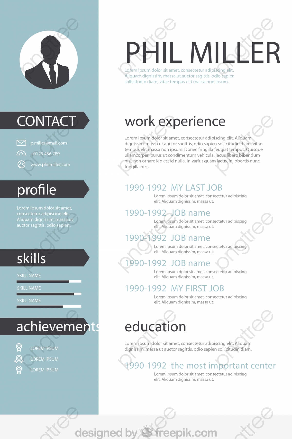 vector personal resume  ai  white  designer biography png