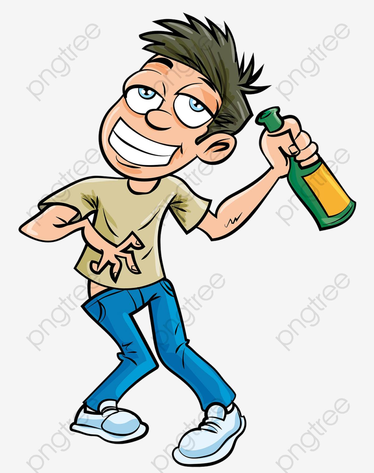 無料ダウンロードのためのキャラクターイラストは酒酒に酔った男