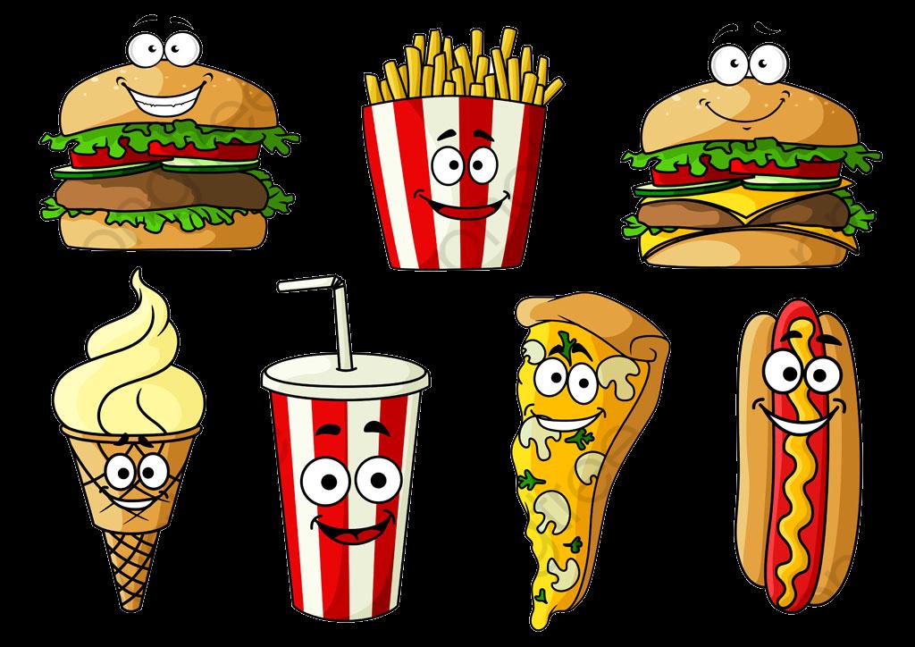 Imagen De Dibujos Animados De Hamburguesa Y Papas Fritas