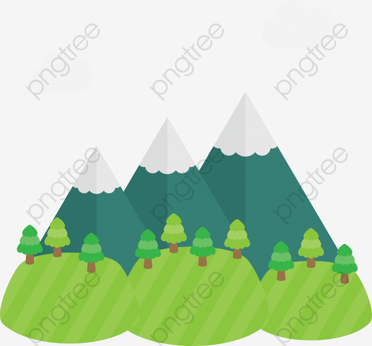 cartoon mountain png vector cartoon three hills, cartoon clipart, mountain