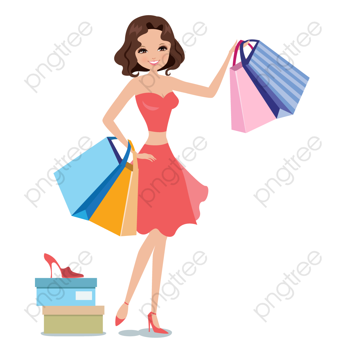 dfb2b3b4a Women Shopping Vector, The Mall, Paper Bags, Try PNG and Vector with ...