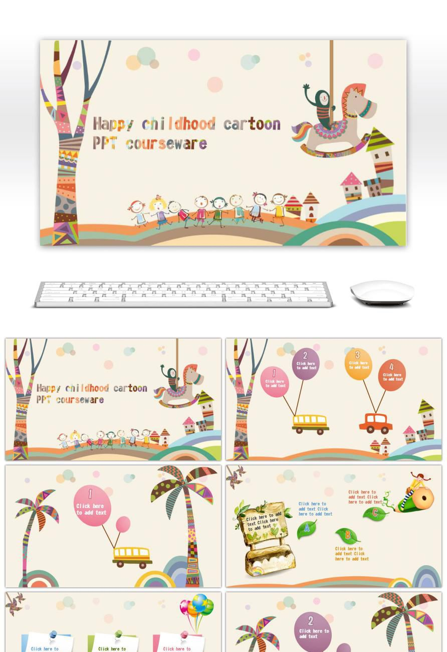 Awesome Creative Hand Painted Ppt Template For Childrens Education