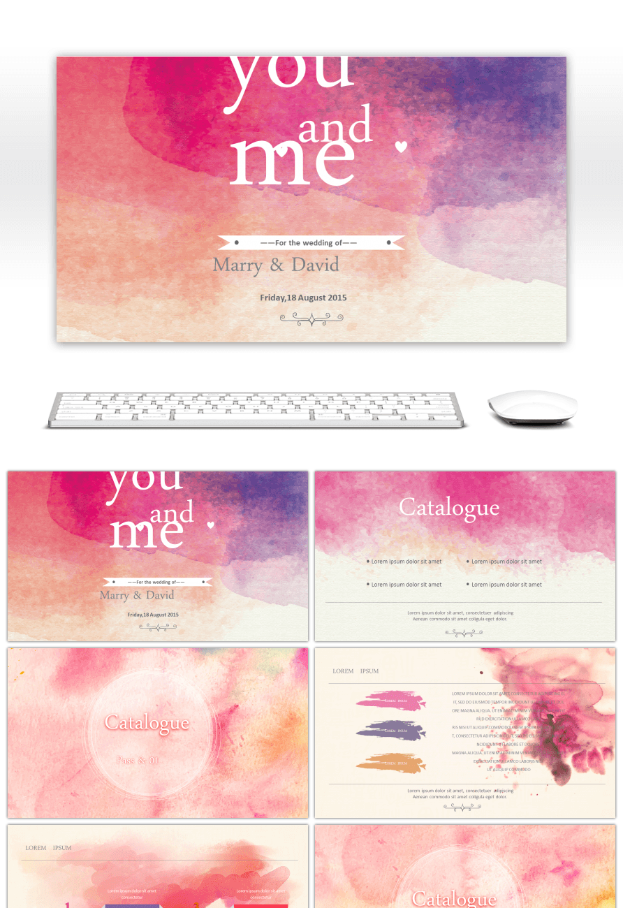 Awesome watercolor wedding theme ppt template for unlimited download watercolor wedding theme ppt template toneelgroepblik Image collections